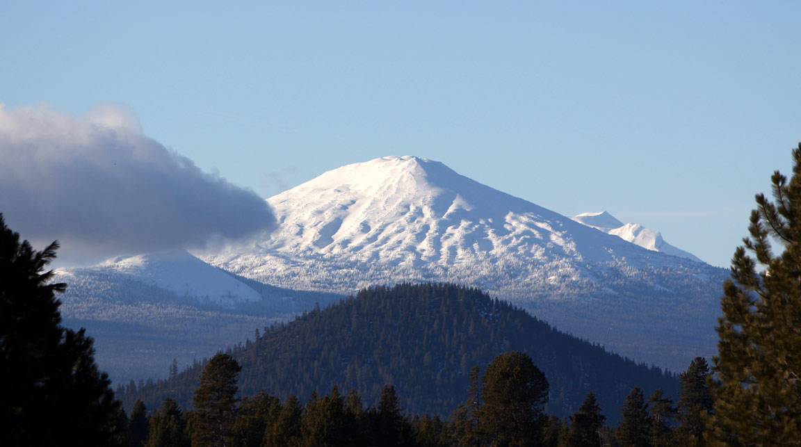 A view of Mt. Bachelor from Birch Park Black Arabians
